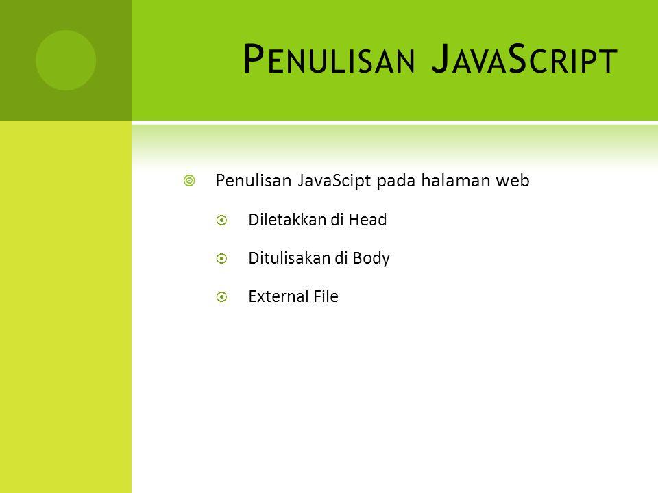 P ENULISAN J AVA S CRIPT  Penulisan JavaScipt pada halaman web  Diletakkan di Head  Ditulisakan di Body  External File