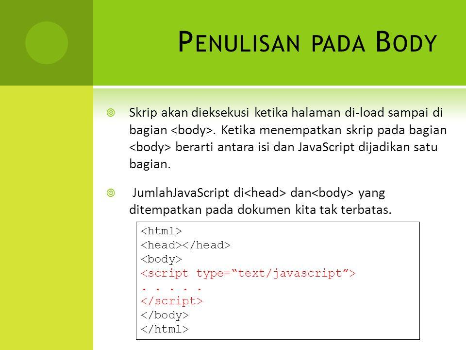 P ENULISAN PADA B ODY  Skrip akan dieksekusi ketika halaman di-load sampai di bagian.
