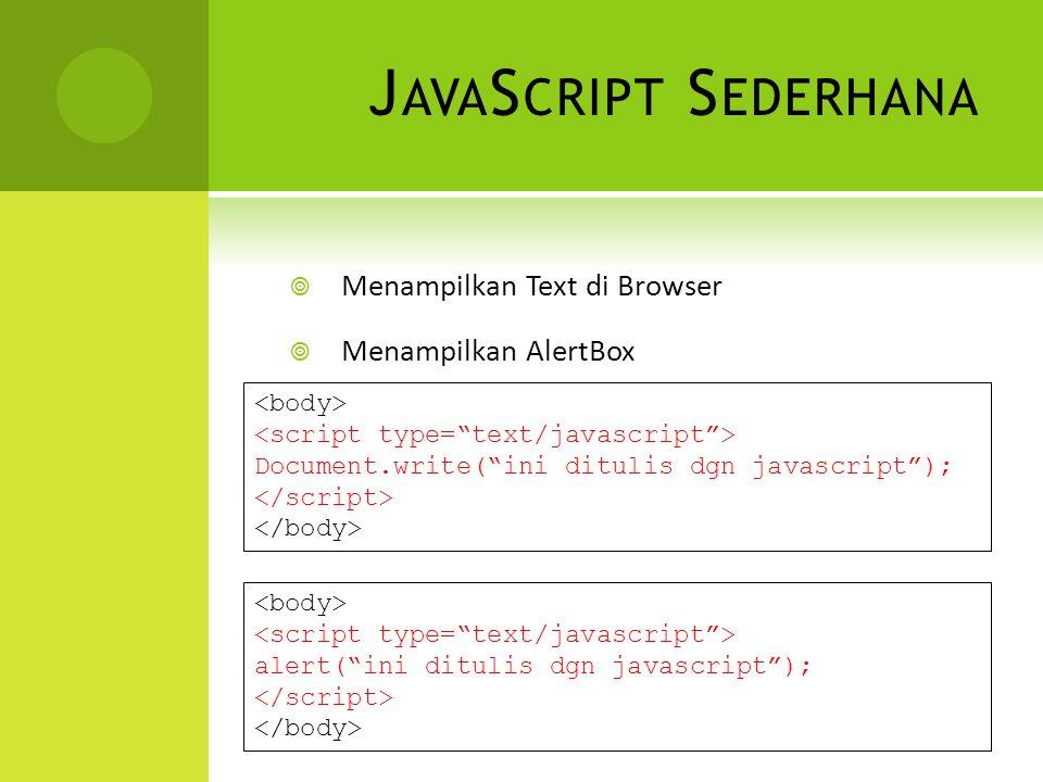 J AVA S CRIPT S EDERHANA  Menampilkan Text di Browser  Menampilkan AlertBox Document.write( ini ditulis dgn javascript ); alert( ini ditulis dgn javascript );