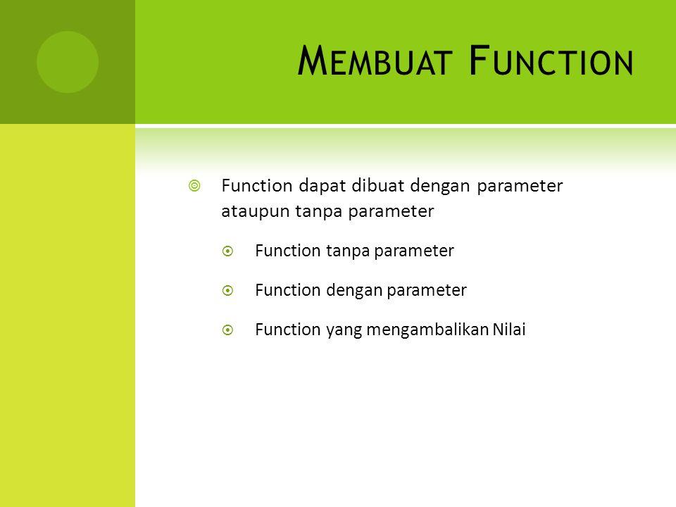 M EMBUAT F UNCTION  Function dapat dibuat dengan parameter ataupun tanpa parameter  Function tanpa parameter  Function dengan parameter  Function yang mengambalikan Nilai
