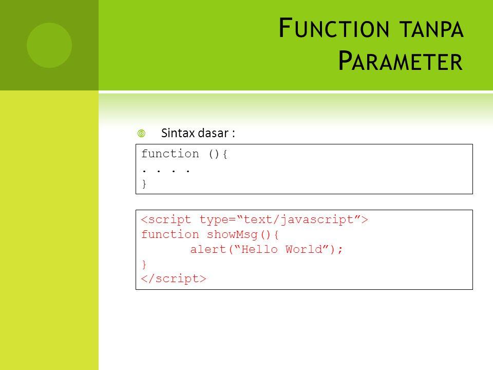 F UNCTION TANPA P ARAMETER  Sintax dasar : function (){..