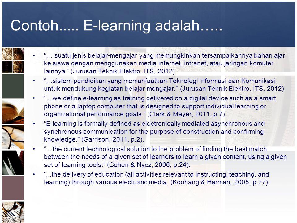 """Contoh..... E-learning adalah….. •""""… suatu jenis belajar-mengajar yang memungkinkan tersampaikannya bahan ajar ke siswa dengan menggunakan media inter"""