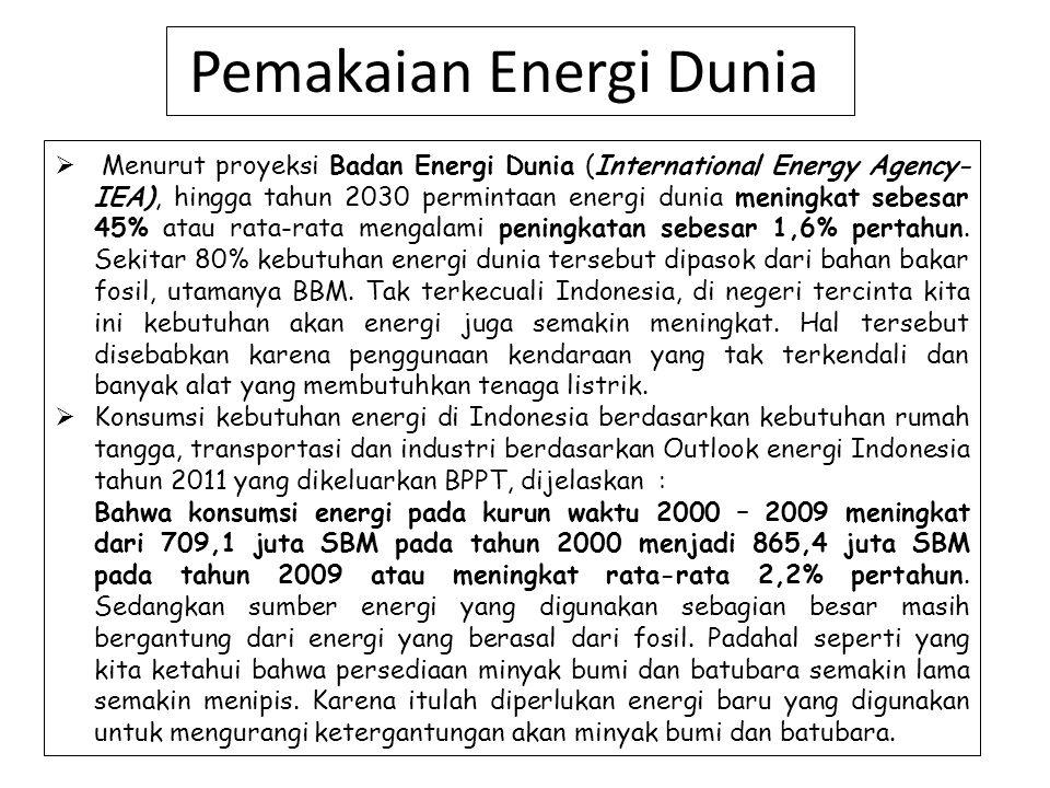 Pemakaian Energi Dunia  Menurut proyeksi Badan Energi Dunia (International Energy Agency- IEA), hingga tahun 2030 permintaan energi dunia meningkat s