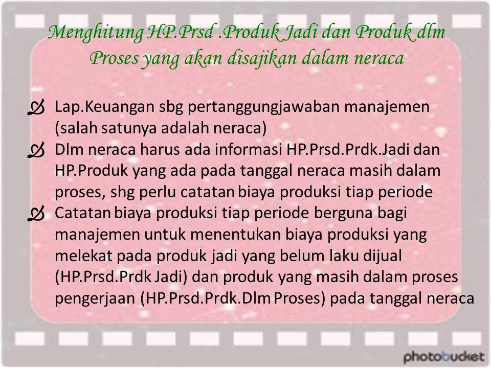 Menghitung HP.Prsd.Produk Jadi dan Produk dlm Proses yang akan disajikan dalam neraca  Lap.Keuangan sbg pertanggungjawaban manajemen (salah satunya adalah neraca)  Dlm neraca harus ada informasi HP.Prsd.Prdk.Jadi dan HP.Produk yang ada pada tanggal neraca masih dalam proses, shg perlu catatan biaya produksi tiap periode  Catatan biaya produksi tiap periode berguna bagi manajemen untuk menentukan biaya produksi yang melekat pada produk jadi yang belum laku dijual (HP.Prsd.Prdk Jadi) dan produk yang masih dalam proses pengerjaan (HP.Prsd.Prdk.Dlm Proses) pada tanggal neraca