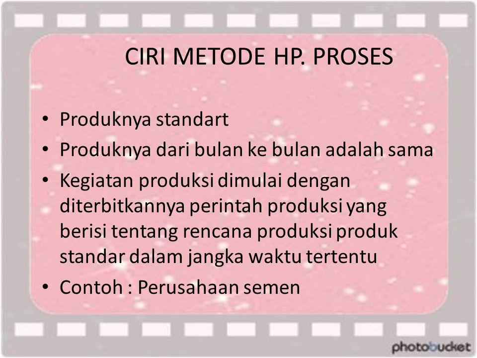 CIRI METODE HP. PROSES • Produknya standart • Produknya dari bulan ke bulan adalah sama • Kegiatan produksi dimulai dengan diterbitkannya perintah pro