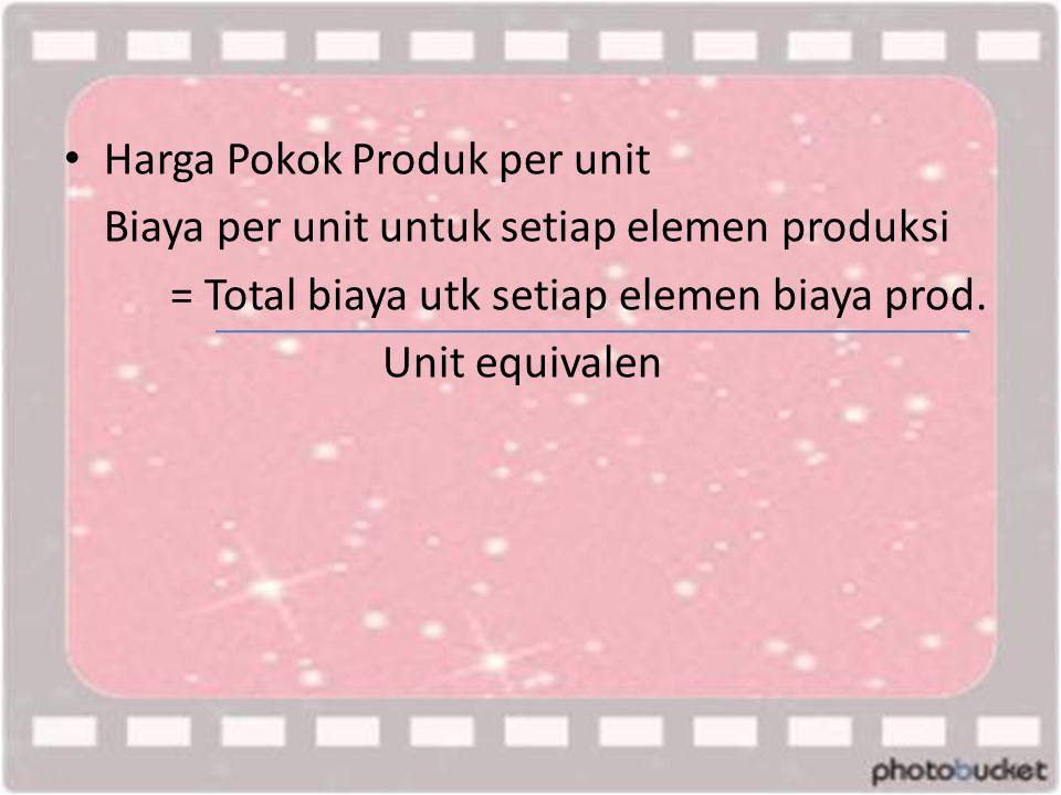 • Harga Pokok Produk per unit Biaya per unit untuk setiap elemen produksi = Total biaya utk setiap elemen biaya prod. Unit equivalen