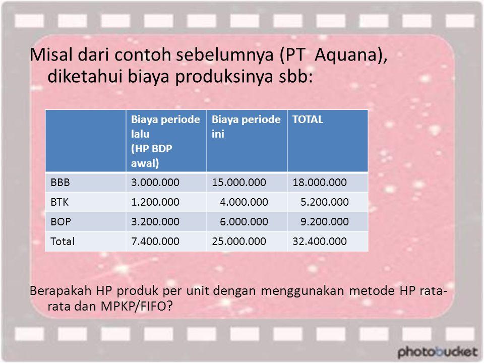 Misal dari contoh sebelumnya (PT Aquana), diketahui biaya produksinya sbb: Berapakah HP produk per unit dengan menggunakan metode HP rata- rata dan MPKP/FIFO.