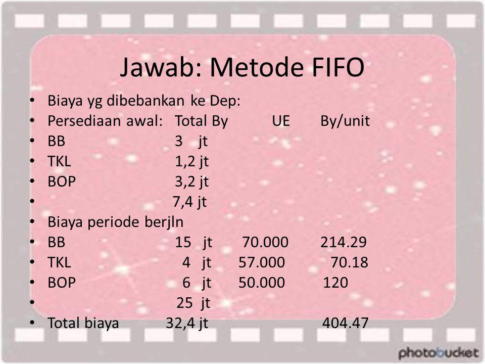 Jawab: Metode FIFO • Biaya yg dibebankan ke Dep: • Persediaan awal:Total ByUEBy/unit • BB3 jt • TKL1,2 jt • BOP3,2 jt • 7,4 jt • Biaya periode berjln • BB15 jt 70.000214.29 • TKL 4 jt 57.000 70.18 • BOP 6 jt 50.000 120 • 25 jt • Total biaya 32,4 jt 404.47