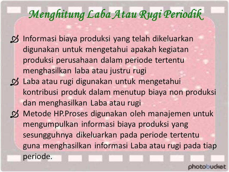 Menghitung Laba Atau Rugi Periodik  Informasi biaya produksi yang telah dikeluarkan digunakan untuk mengetahui apakah kegiatan produksi perusahaan da