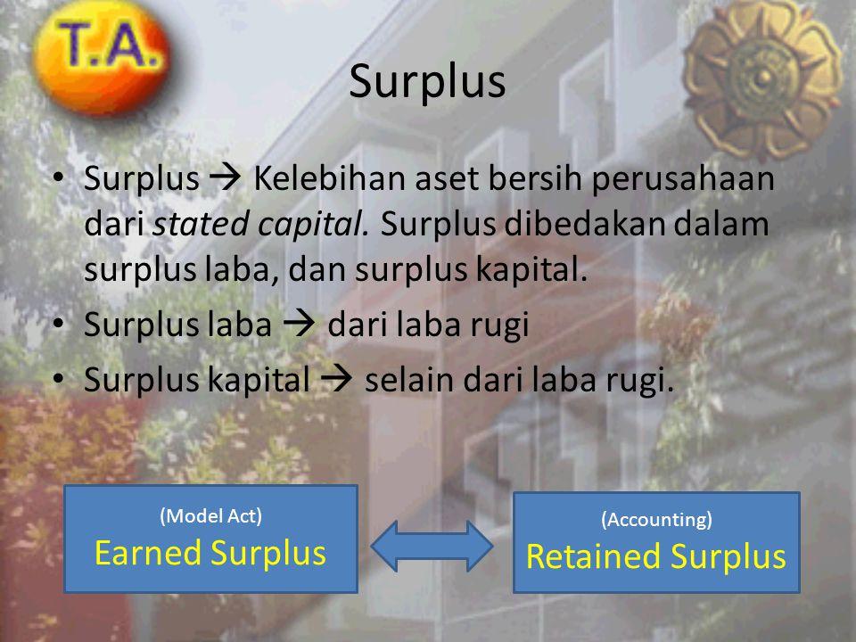 Surplus • Surplus  Kelebihan aset bersih perusahaan dari stated capital. Surplus dibedakan dalam surplus laba, dan surplus kapital. • Surplus laba 