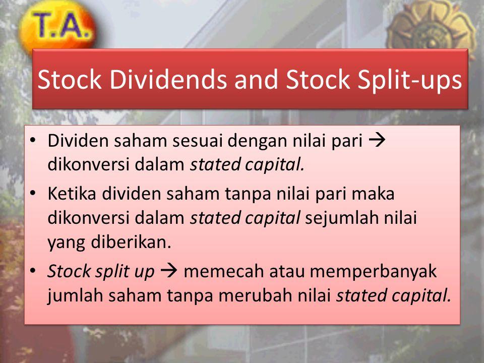 Stock Dividends and Stock Split-ups • Dividen saham sesuai dengan nilai pari  dikonversi dalam stated capital. • Ketika dividen saham tanpa nilai par