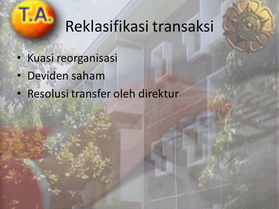 Reklasifikasi transaksi • Kuasi reorganisasi • Deviden saham • Resolusi transfer oleh direktur