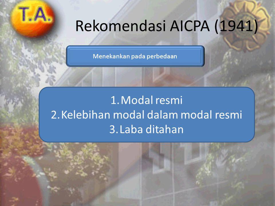 Rekomendasi AICPA (1941) Menekankan pada perbedaan 1.Modal resmi 2.Kelebihan modal dalam modal resmi 3.Laba ditahan