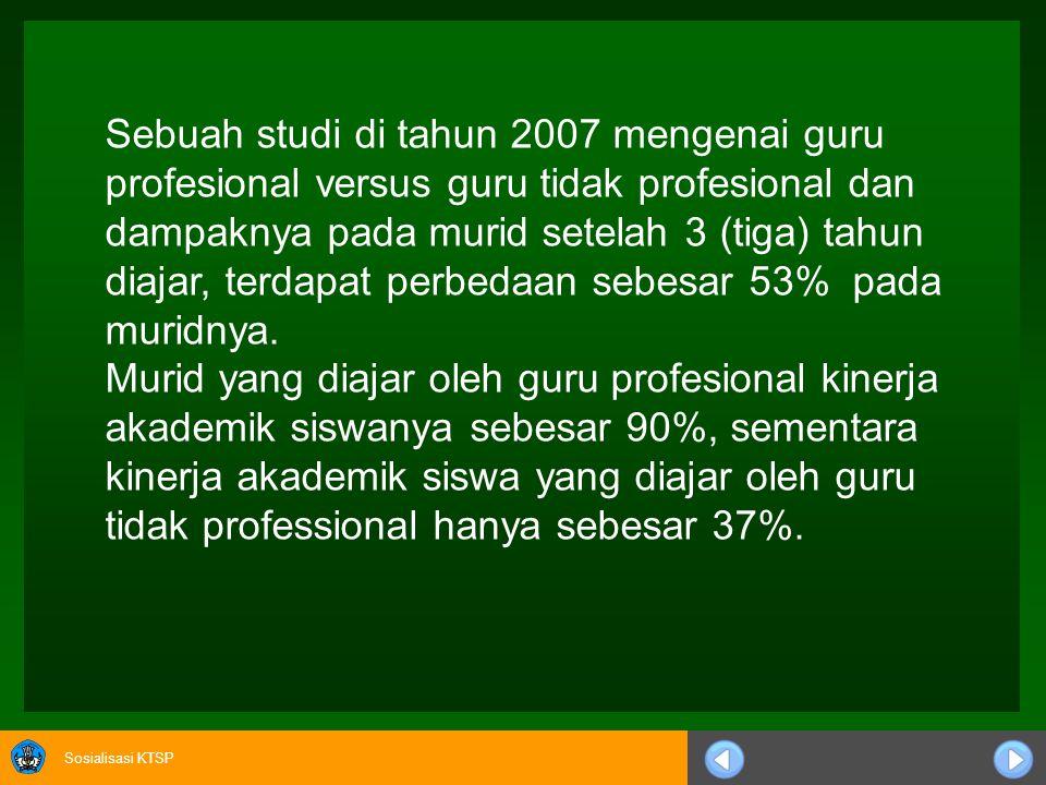 Sosialisasi KTSP Sedangkan hasil penelitian 13 negara industri menunjukkan kontribusi guru adalah 36%, manajemen 23%, waktu belajar 22 % dan sarana fi