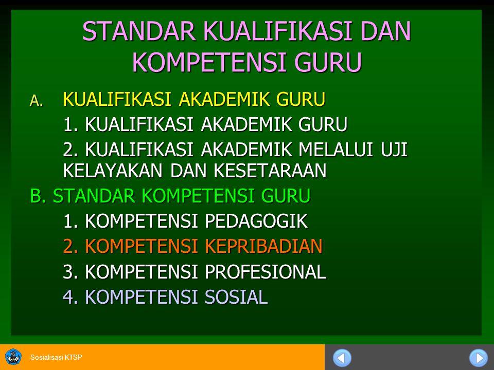Sosialisasi KTSP KOMPETENSI KEPRIBADIAN   Bertindak sesuai dengan norma agama, hukum, sosial, dan kebudayaan nasional Indonesia.