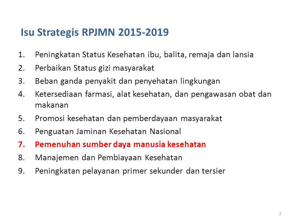 Isu Strategis RPJMN 2015-2019 1.Peningkatan Status Kesehatan ibu, balita, remaja dan lansia 2.Perbaikan Status gizi masyarakat 3.Beban ganda penyakit