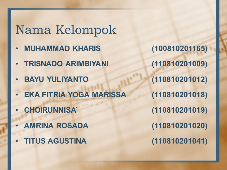 Nama Kelompok •MUHAMMAD KHARIS(100810201165) •TRISNADO ARIMBIYANI(110810201009) •BAYU YULIYANTO(110810201012) •EKA FITRIA YOGA MARISSA(110810201018) •CHOIRUNNISA'(110810201019) •AMRINA ROSADA(110810201020) •TITUS AGUSTINA(110810201041)