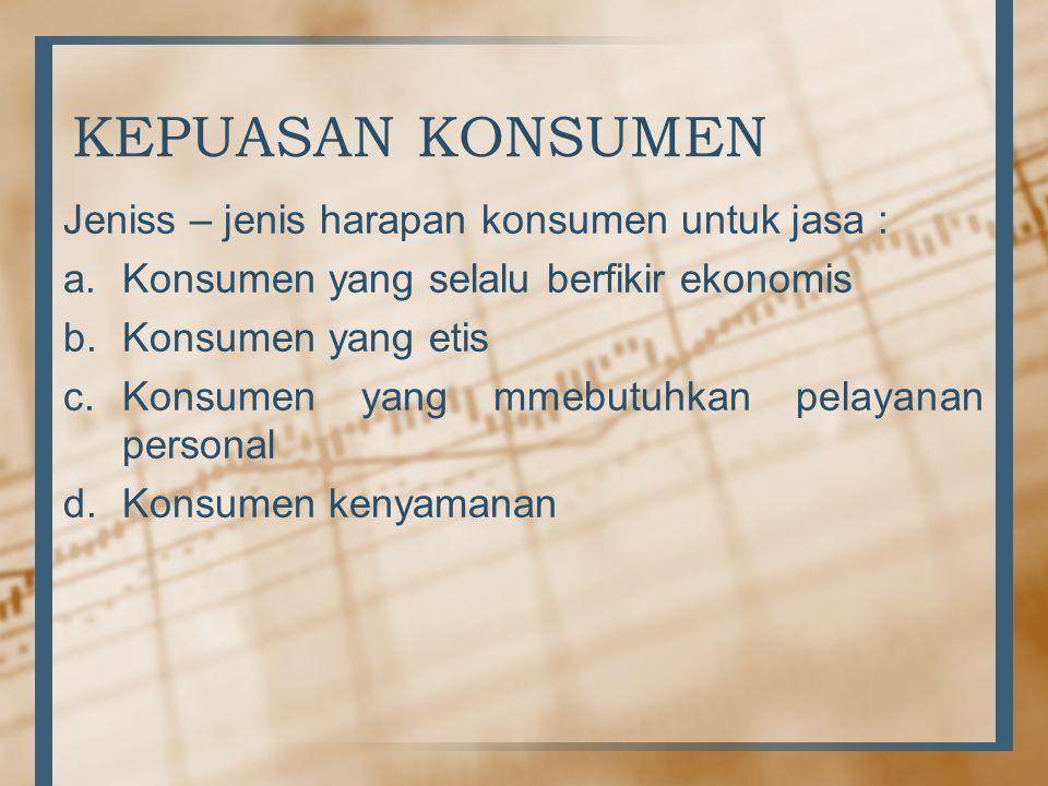 KEPUASAN KONSUMEN Jeniss – jenis harapan konsumen untuk jasa : a.Konsumen yang selalu berfikir ekonomis b.Konsumen yang etis c.Konsumen yang mmebutuhkan pelayanan personal d.Konsumen kenyamanan