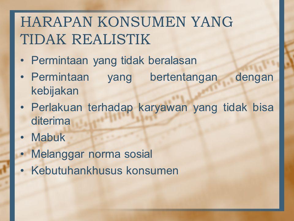 HARAPAN KONSUMEN YANG TIDAK REALISTIK •Permintaan yang tidak beralasan •Permintaan yang bertentangan dengan kebijakan •Perlakuan terhadap karyawan yang tidak bisa diterima •Mabuk •Melanggar norma sosial •Kebutuhankhusus konsumen