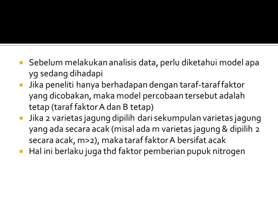  Misal: model yang dihadapi adalah model tetap.Maka prosedur analisisnya adalah sbb.