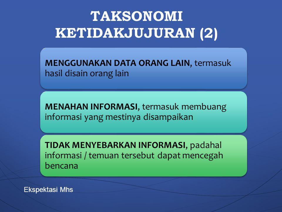 TAKSONOMI KETIDAKJUJURAN (2) MENGGUNAKAN DATA ORANG LAIN, termasuk hasil disain orang lain MENAHAN INFORMASI, termasuk membuang informasi yang mestiny
