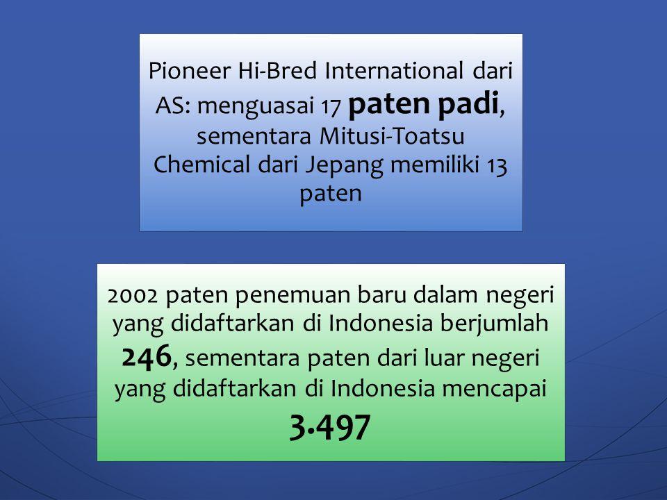 Pioneer Hi-Bred International dari AS: menguasai 17 paten padi, sementara Mitusi-Toatsu Chemical dari Jepang memiliki 13 paten 2002 paten penemuan bar