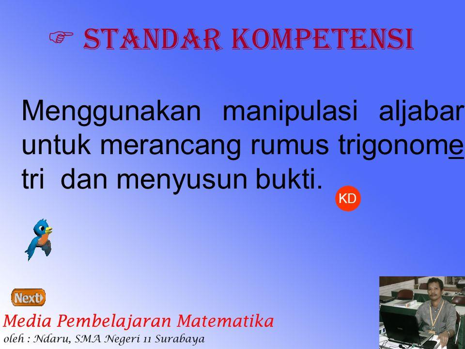  Standar Kompetensi Menggunakan manipulasi aljabar untuk merancang rumus trigonome tri dan menyusun bukti. KD