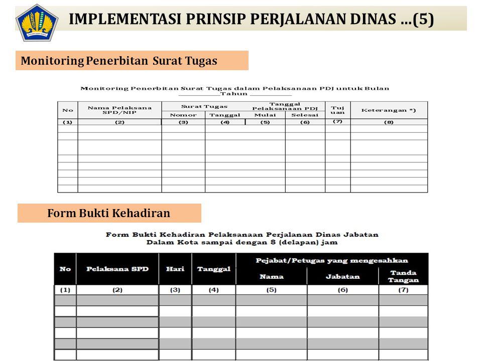 IMPLEMENTASI PRINSIP PERJALANAN DINAS …(5) Form Bukti Kehadiran Monitoring Penerbitan Surat Tugas