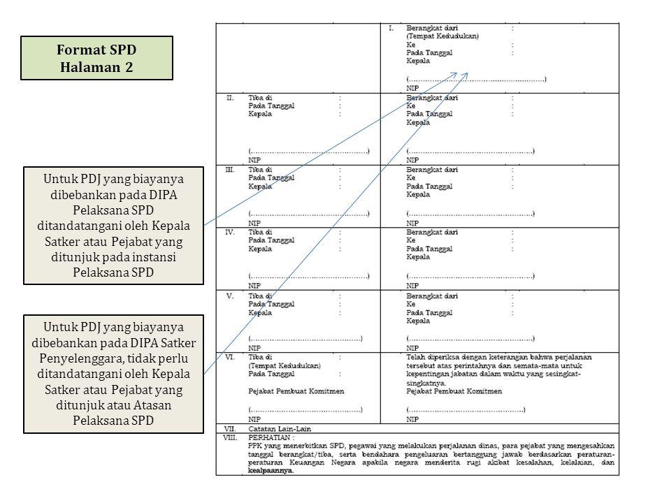 Format SPD Halaman 2 Untuk PDJ yang biayanya dibebankan pada DIPA Pelaksana SPD ditandatangani oleh Kepala Satker atau Pejabat yang ditunjuk pada inst