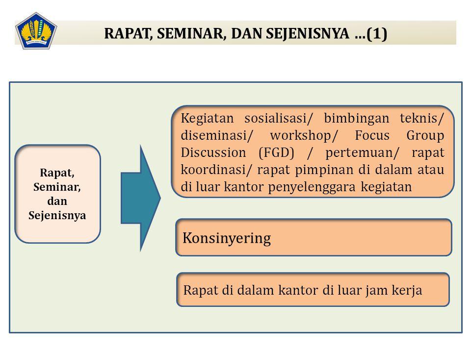 Rapat, Seminar, dan Sejenisnya Kegiatan sosialisasi/ bimbingan teknis/ diseminasi/ workshop/ Focus Group Discussion (FGD) / pertemuan/ rapat koordinas