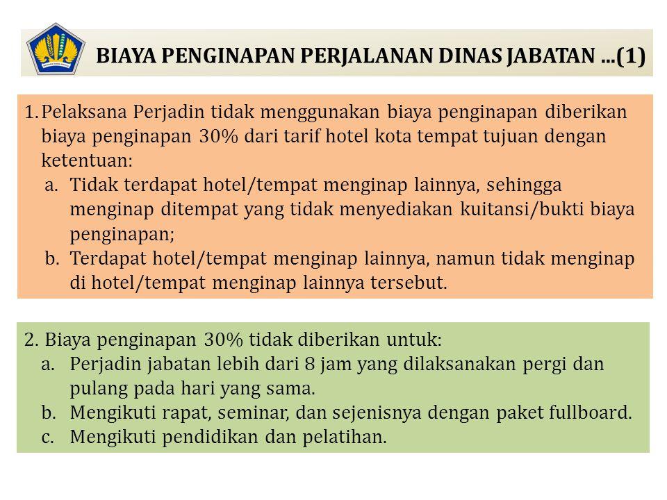 BIAYA PENGINAPAN PERJALANAN DINAS JABATAN...(1) 1.Pelaksana Perjadin tidak menggunakan biaya penginapan diberikan biaya penginapan 30% dari tarif hote