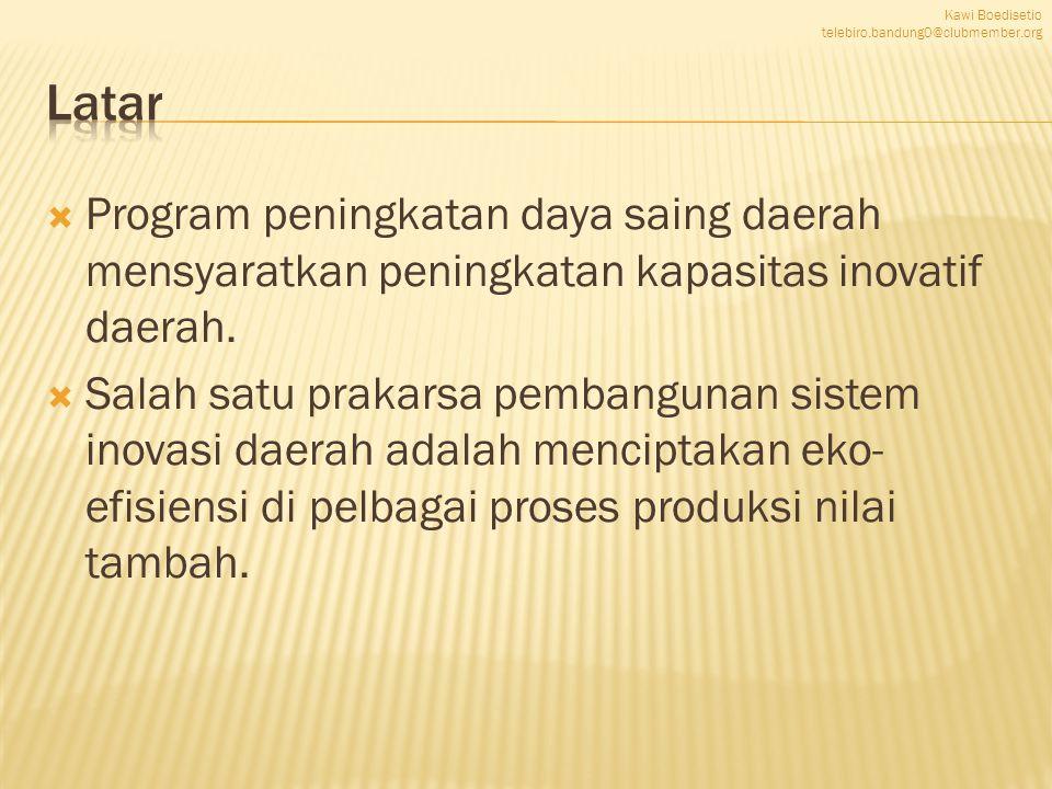  Program peningkatan daya saing daerah mensyaratkan peningkatan kapasitas inovatif daerah.