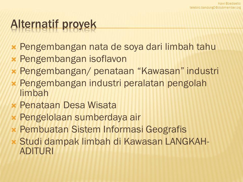 """ Pengembangan nata de soya dari limbah tahu  Pengembangan isoflavon  Pengembangan/ penataan """"Kawasan"""" industri  Pengembangan industri peralatan pe"""