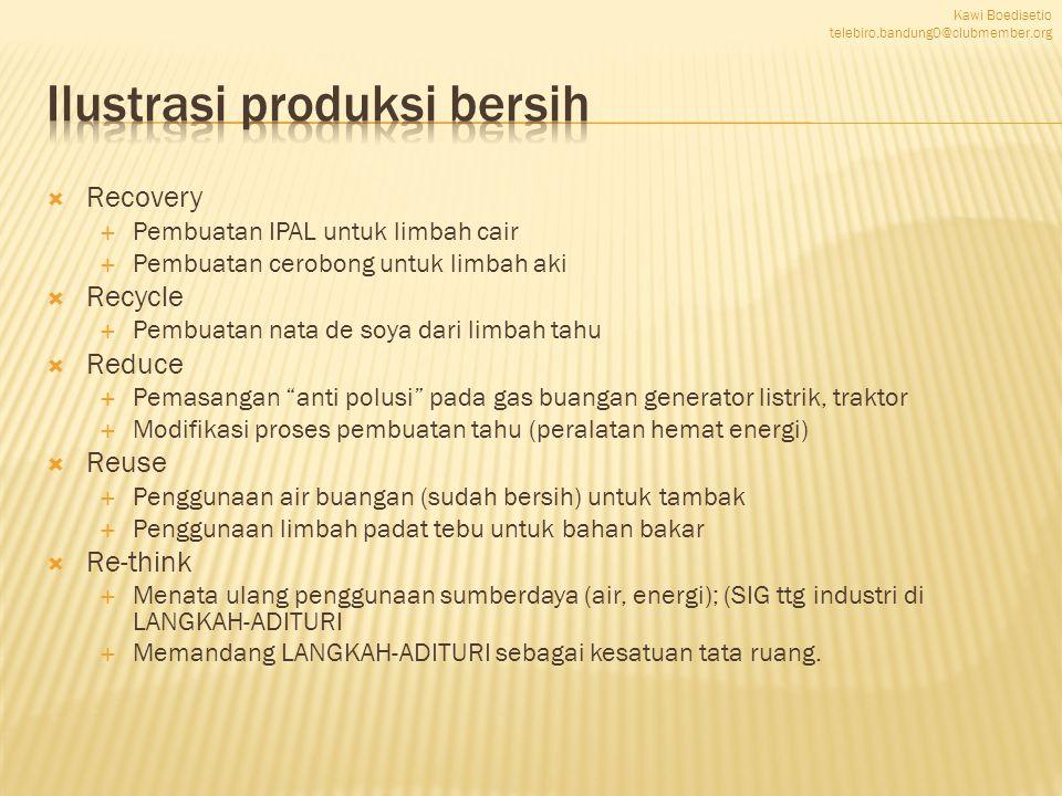  Recovery  Pembuatan IPAL untuk limbah cair  Pembuatan cerobong untuk limbah aki  Recycle  Pembuatan nata de soya dari limbah tahu  Reduce  Pem