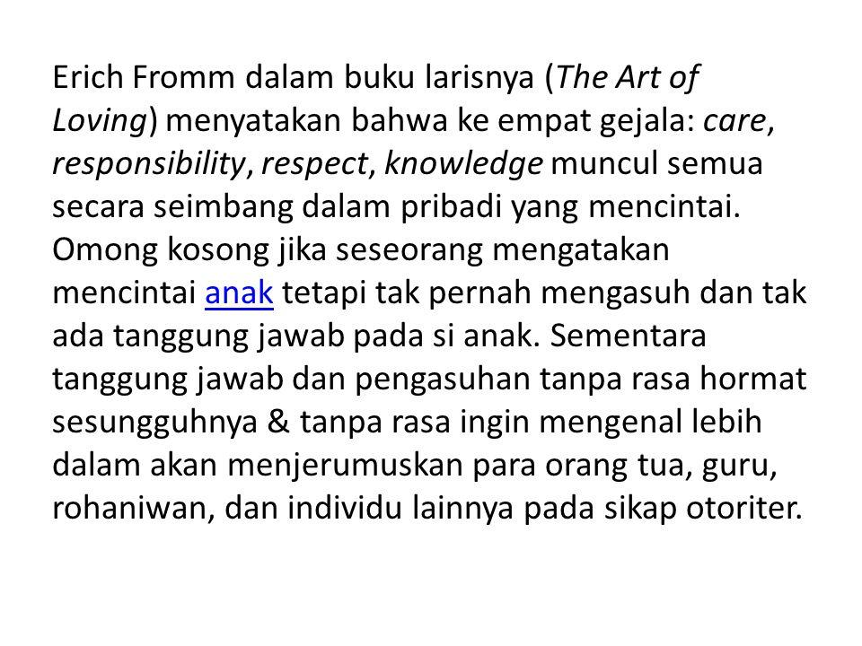 Erich Fromm dalam buku larisnya (The Art of Loving) menyatakan bahwa ke empat gejala: care, responsibility, respect, knowledge muncul semua secara sei