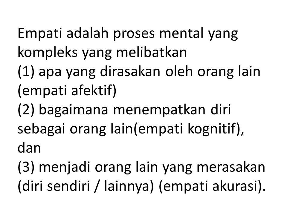 Empati adalah proses mental yang kompleks yang melibatkan (1) apa yang dirasakan oleh orang lain (empati afektif) (2) bagaimana menempatkan diri sebag