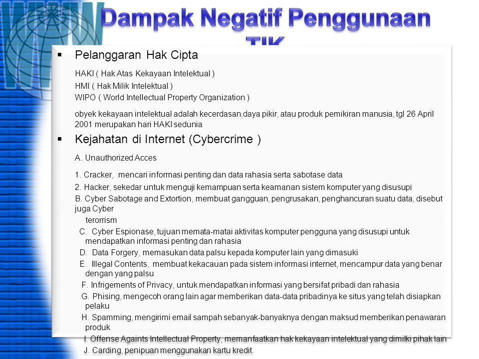  Pelanggaran Hak Cipta HAKI ( Hak Atas Kekayaan Intelektual ) HMI ( Hak Milik Intelektual ) WIPO ( World Intellectual Property Organization ) obyek k