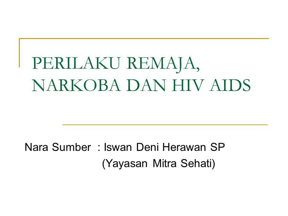 PERILAKU REMAJA, NARKOBA DAN HIV AIDS Nara Sumber : Iswan Deni Herawan SP (Yayasan Mitra Sehati)