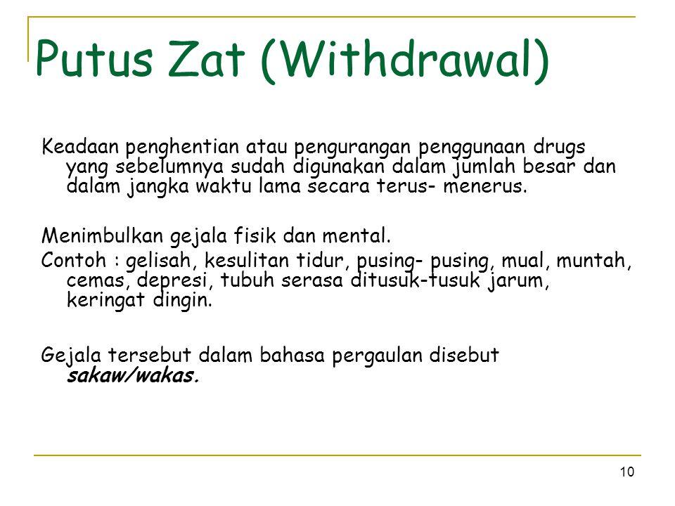 10 Putus Zat (Withdrawal) Keadaan penghentian atau pengurangan penggunaan drugs yang sebelumnya sudah digunakan dalam jumlah besar dan dalam jangka wa