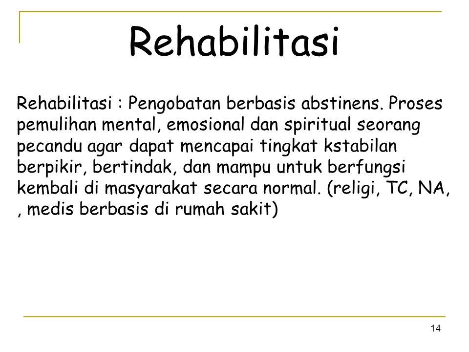 14 Rehabilitasi Rehabilitasi : Pengobatan berbasis abstinens. Proses pemulihan mental, emosional dan spiritual seorang pecandu agar dapat mencapai tin