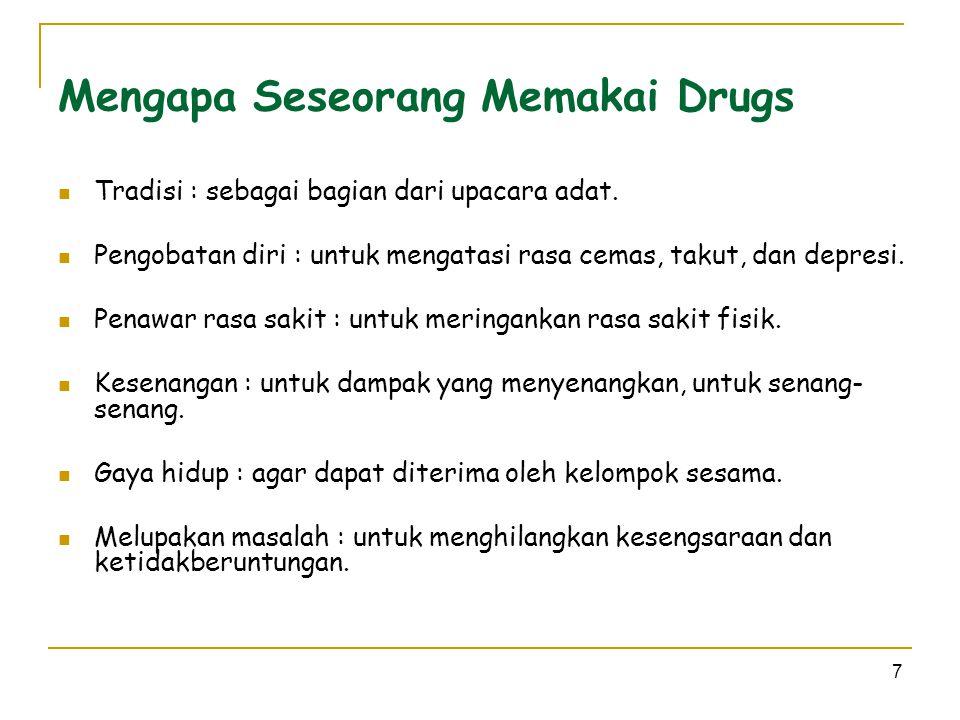 7 Mengapa Seseorang Memakai Drugs  Tradisi : sebagai bagian dari upacara adat.  Pengobatan diri : untuk mengatasi rasa cemas, takut, dan depresi. 