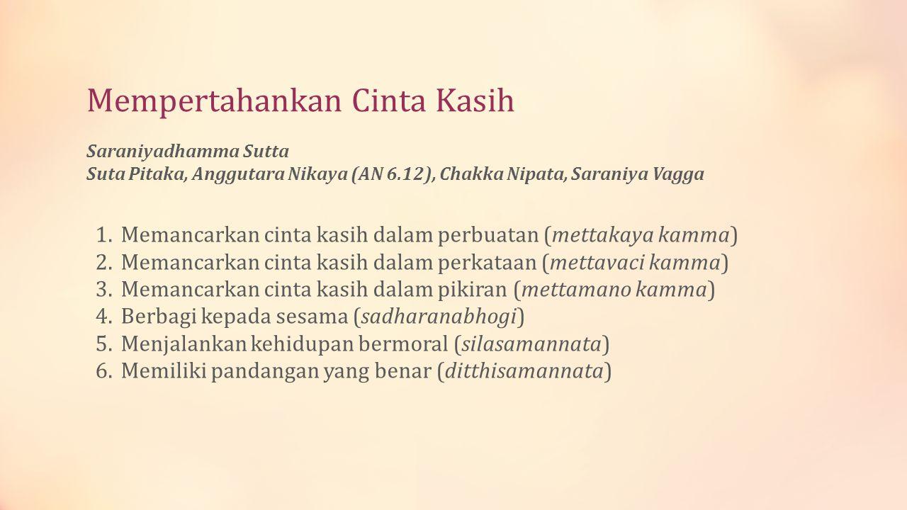 Mempertahankan Cinta Kasih Saraniyadhamma Sutta Suta Pitaka, Anggutara Nikaya (AN 6.12), Chakka Nipata, Saraniya Vagga 1.Memancarkan cinta kasih dalam