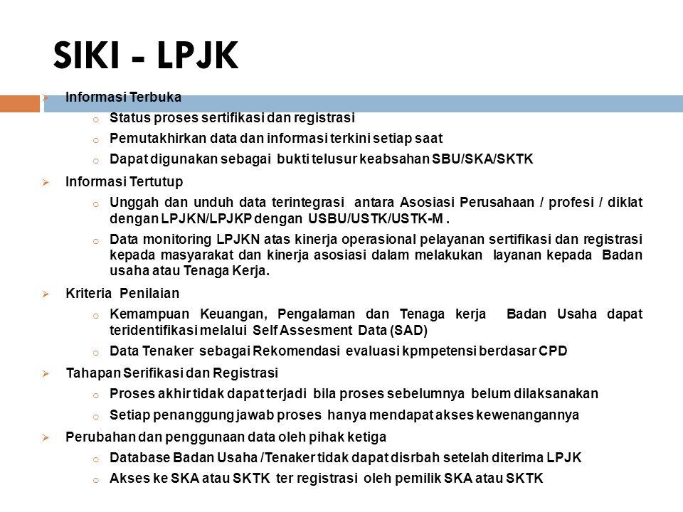 SIKI - LPJK  Informasi Terbuka o Status proses sertifikasi dan registrasi o Pemutakhirkan data dan informasi terkini setiap saat o Dapat digunakan sebagai bukti telusur keabsahan SBU/SKA/SKTK  Informasi Tertutup o Unggah dan unduh data terintegrasi antara Asosiasi Perusahaan / profesi / diklat dengan LPJKN/LPJKP dengan USBU/USTK/USTK-M.