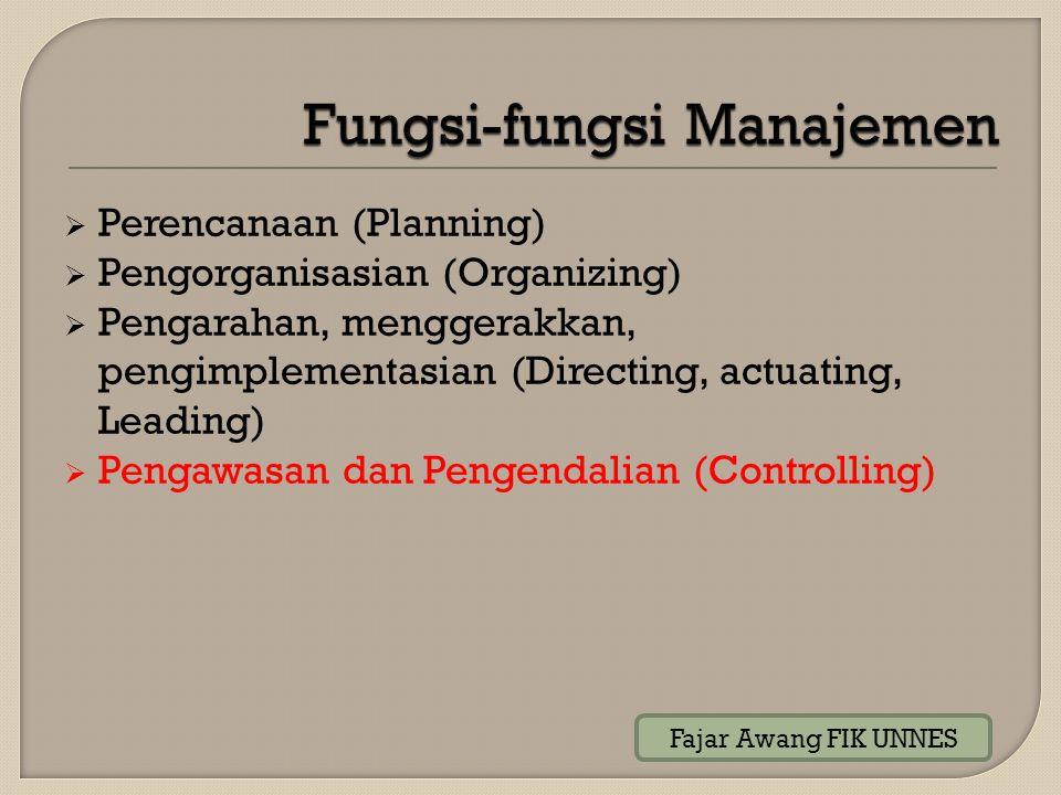  Perencanaan (Planning)  Pengorganisasian (Organizing)  Pengarahan, menggerakkan, pengimplementasian (Directing, actuating, Leading)  Pengawasan d