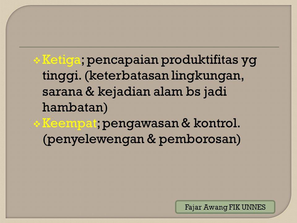  Ketiga; pencapaian produktifitas yg tinggi. (keterbatasan lingkungan, sarana & kejadian alam bs jadi hambatan)  Keempat; pengawasan & kontrol. (pen
