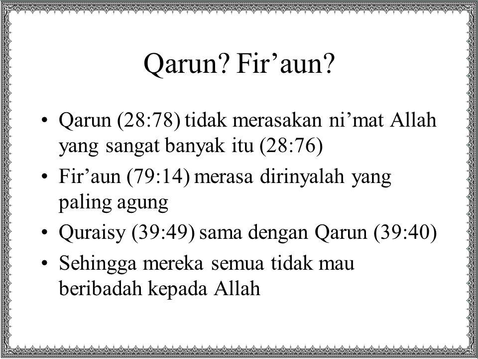 31 X •Karena itu berkali-kali (31x) Allah mengingatkan manusia dan jin akan ni'matNya di surat Ar- Rahman: فَبِأَيِّ آَلَاءِ رَبِّكُمَا تُكَذِّبَانِ •Rasulullah SAW membaca surat ar-Rahman kemudian bersabda, Aku mendengar jawaban jin kepada Tuhannya lebih baik dari kalian. Para sahabat bertanya, Apa itu, wahai Rasulullah? Setiap mendengar فَبِأَيِّ آَلَاءِ رَبِّكُمَا تُكَذِّبَانِ maka dijawab, لا بِشَيْءٍ مِنْ نِعْمَةِ رَبِّنا نُكَذّبُ (tidak ada sesuatu pun dari ni'mat Tuhan kami yang kami dustakan)