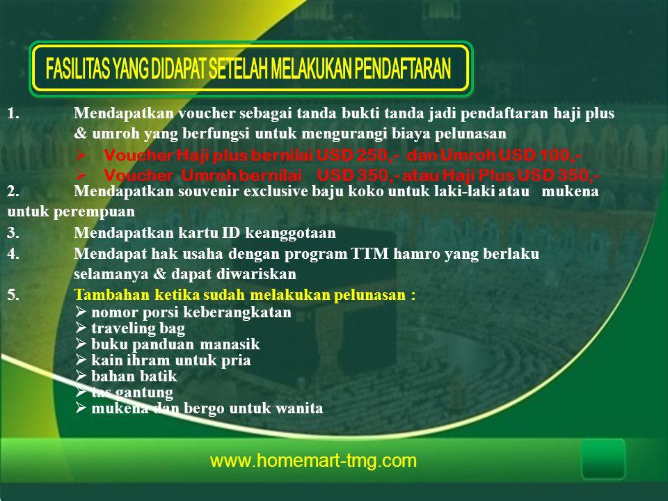1.Mendapatkan voucher sebagai tanda bukti tanda jadi pendaftaran haji plus & umroh yang berfungsi untuk mengurangi biaya pelunasan  Voucher Haji plus