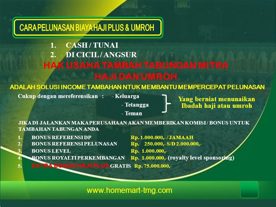 www.homemart-tmg.com 1.CASH / TUNAI 2.DI CICIL / ANGSUR HAK USAHA TAMBAH TABUNGAN MITRA HAJI DAN UMROH ADALAH SOLUSI INCOME TAMBAHAN NTUK MEMBANTU MEM