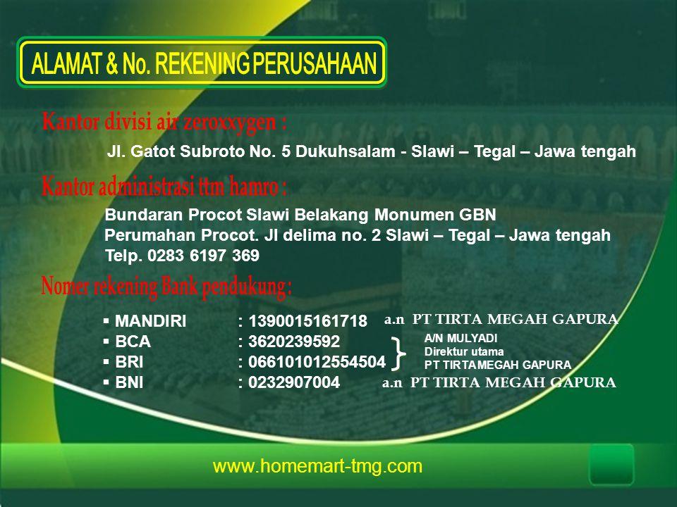 www.homemart-tmg.com Jl. Gatot Subroto No. 5 Dukuhsalam - Slawi – Tegal – Jawa tengah Bundaran Procot Slawi Belakang Monumen GBN Perumahan Procot. Jl