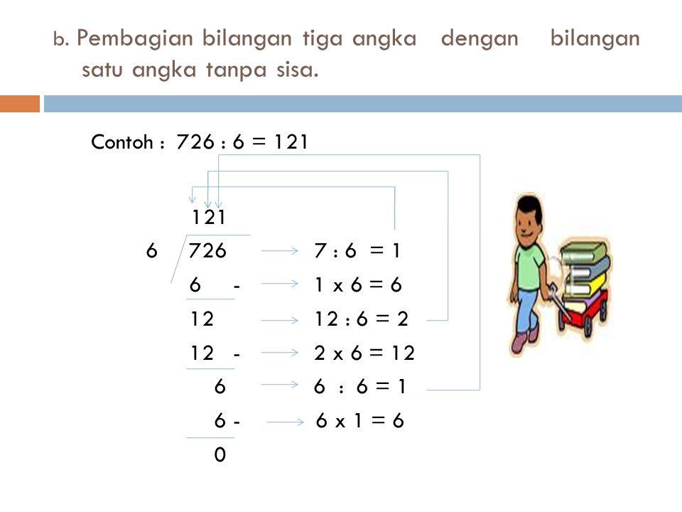 b.Pembagian bilangan tiga angka dengan bilangan satu angka tanpa sisa.